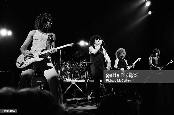 Scott Kempner Handsome Dick Manitoba Andy Shernoff and Ross Friedman of The Dictators perform live at The Winterland Ballroom 1977 in San Francisco...