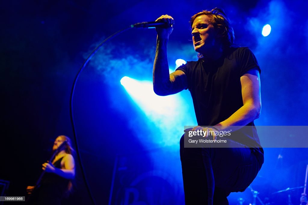 Scott Kennedy of Bleed From Within performs on stage at Manchester Academy on June 5, 2013 in Manchester, England.