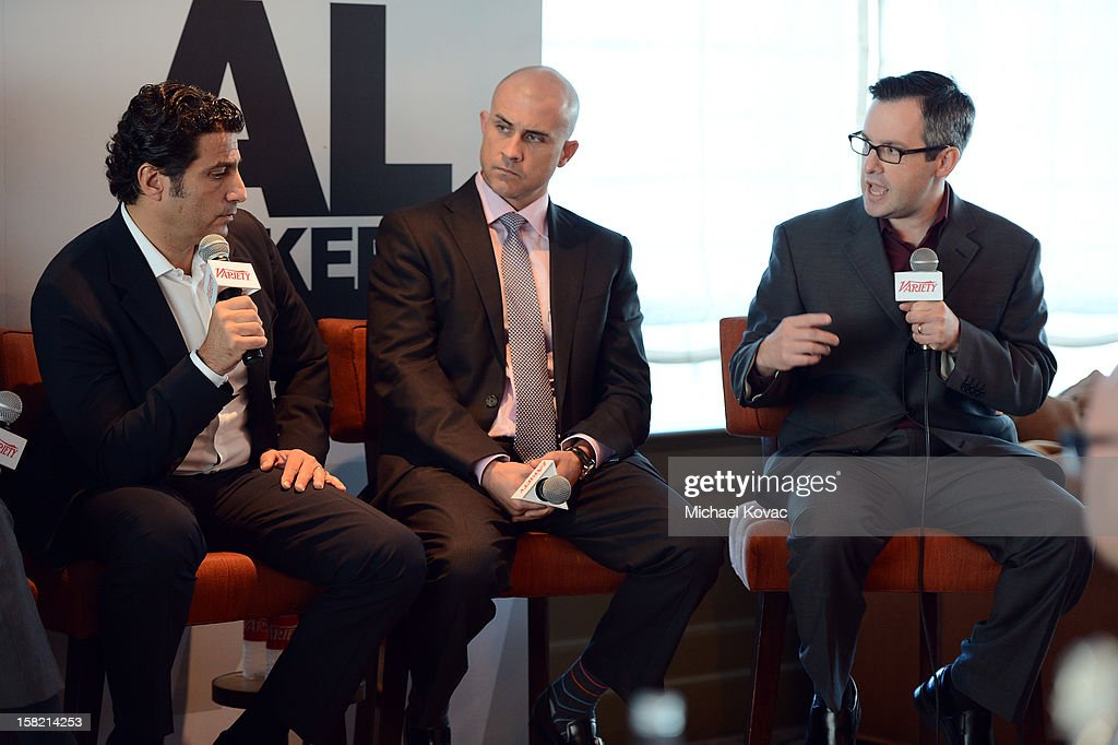 Scott Kiindel, Cheif Corporate Content Licensing Officer,CBS Corporation, Brian Stearns, Co-Head, Entertainment Industries Group, Bank of America, and Moderator Andrew Wallenstein, TV Editor, Variety speak during Variety's Dealmakers Breakfast presented by Bank Of America at Soho House on December 11, 2012 in West Hollywood, California.