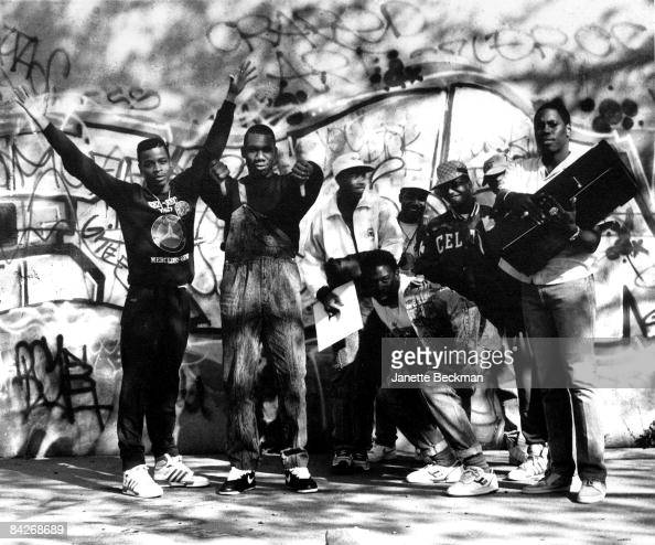 Scott 'La Rock' Sterling and second from left KRSOne pose with other members of BDP or Boogie Down Productions in the Bronx 1987 The group is wearing...