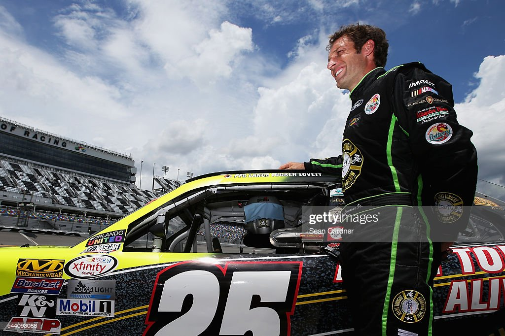 Scott Lagasse Jr., driver of the #25 Alert Tonight Florida Ford, stands on the grid during qualifying for the NASCAR XFINITY Series Subway Firecracker 250 at Daytona International Speedway on July 1, 2016 in Daytona Beach, Florida.