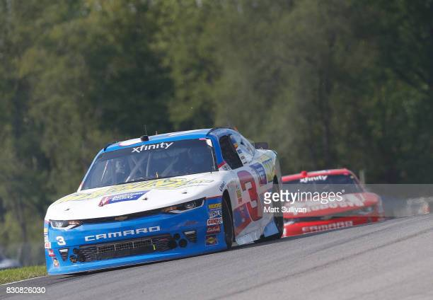 Scott Lagasse Jr driver of the ScreenYourMachine/AmerCancerSoc Chevrolet leads a pack of cars during the NASCAR XFINITY Series MidOhio Challenge at...