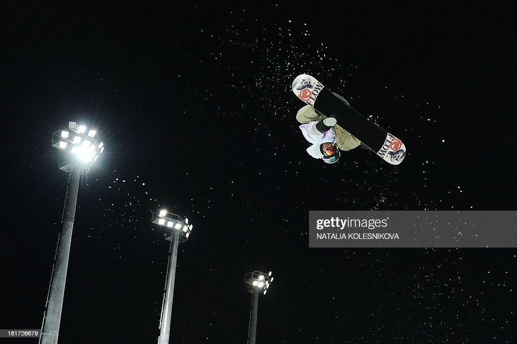 US Scott Lago competes at the Snowboard World Cup Men's Final Halfpipe Test Event at the Snowboard and Freestyle Center in Rosa Khutor near the Black Sea resort of Sochi, on February 14, 2013. Lago took the third place.