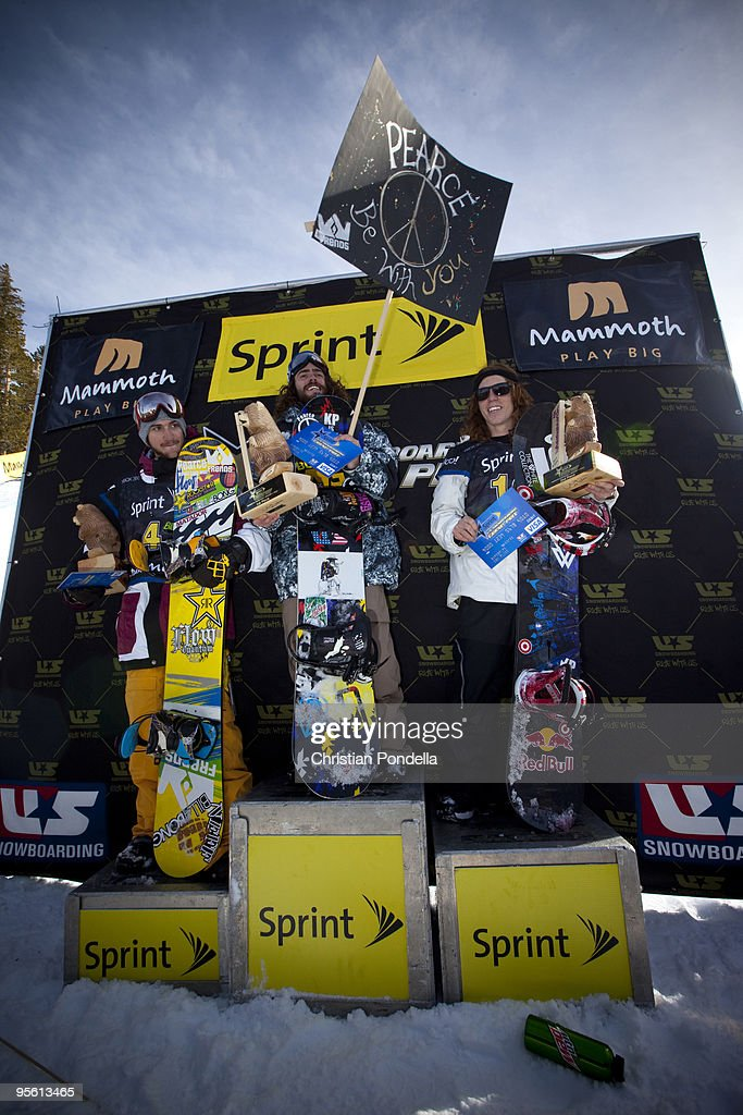 Scott Lago Danny Davis and Shaun White stand on the podium after competing at the US Snowboarding Grand Prix on January 6 2010 in Mammoth Lakes...