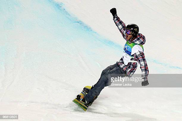 Scott Lago of the United States reacts in the Snowboard Men's Halfpipe final on day six of the Vancouver 2010 Winter Olympics at Cypress Snowboard...