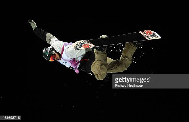 Scott Lago of the USA in action during the FIS World Cup Snowboard Half Pipe competition at the Rosa Khutor Extreme Park in Krasnya Polyana on...