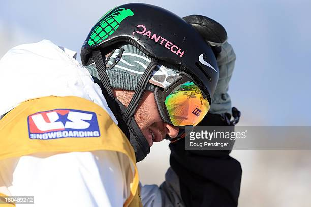Scott Lago of the USA prepares to take a practice run as he went on to finish second in the FIS Snowboard Halfpipe World Cup at the Sprint US Grand...