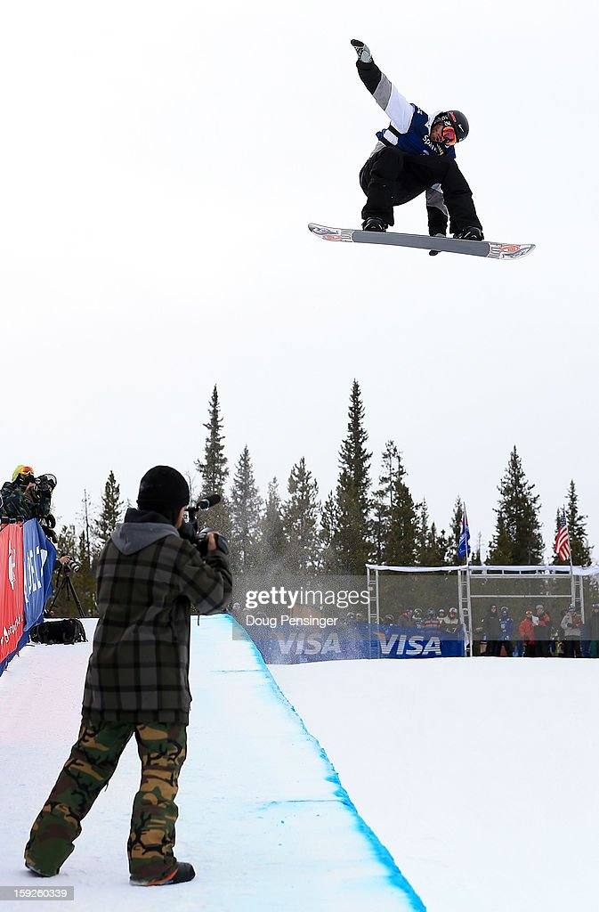 Scott Lago of the USA soars above the pipe during qualification for the men's FIS Snowboard Halfpipe World Cup at the US Grand Prix on January 10, 2013 in Copper Mountain, Colorado.
