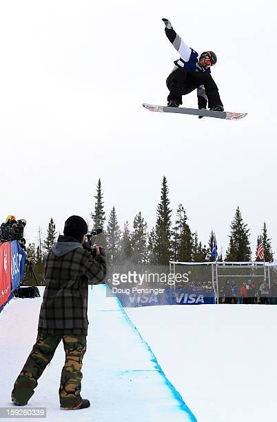 Scott Lago of the USA soars above the pipe during qualification for the men's FIS Snowboard Halfpipe World Cup at the US Grand Prix on January 10...