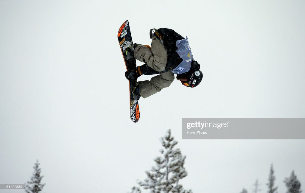 Scott Lago takes his first run during the men's snowboard halfpipe qualifications for the US Snowboarding Grand Prix on January 8, 2014 in Breckenridge, Colorado.