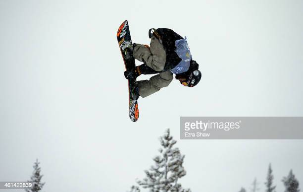 Scott Lago takes his first run during the men's snowboard halfpipe qualifications for the US Snowboarding Grand Prix on January 8 2014 in...
