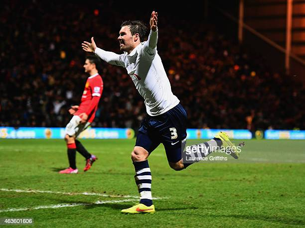 Scott Laird of Preston North End celebrates scoring the opening goal during the FA Cup Fifth round match between Preston North End and Manchester...