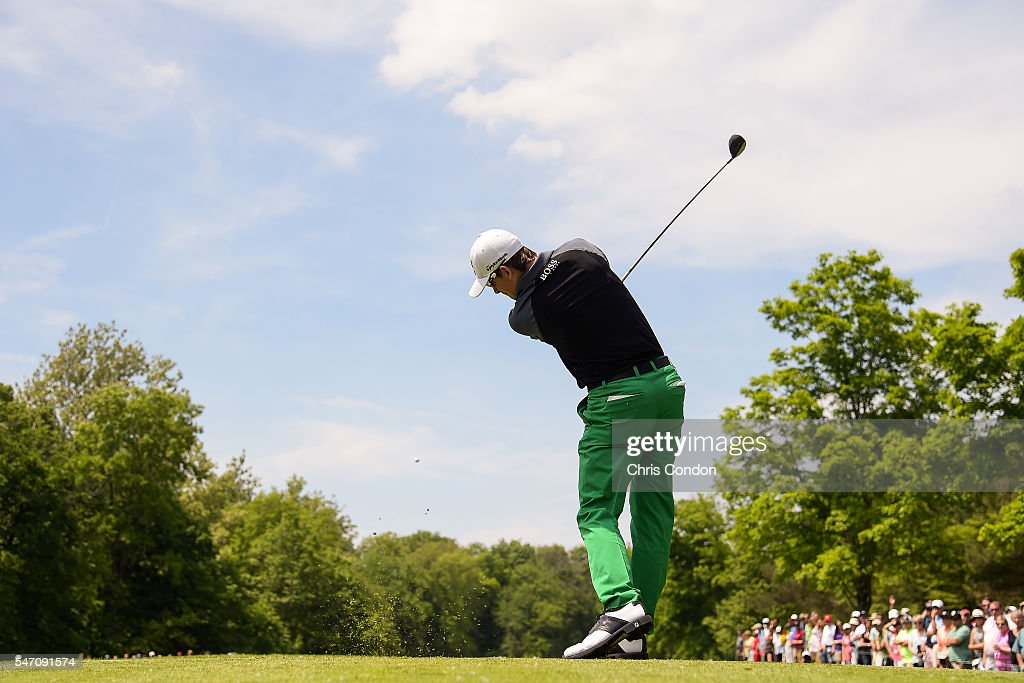 Scott Langley hits a shot during the final round of the Memorial Tournament presented by Nationwide Insurance at Muirfield Village Golf Club on June...