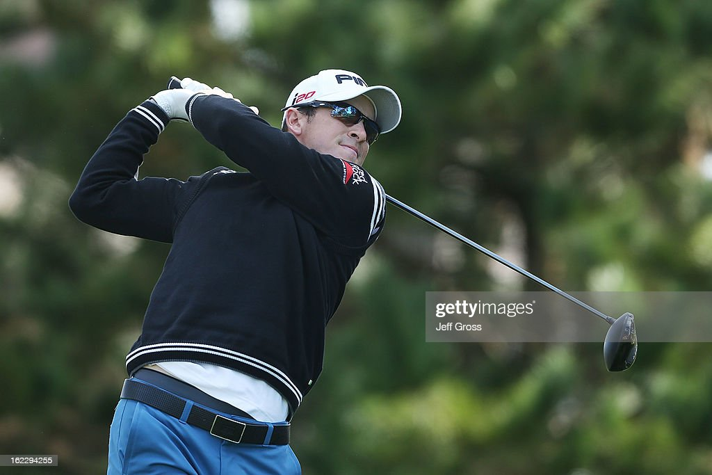 Scott Langley hits a shot during the second round of the ATT Pebble Beach National ProAm at Spyglass Hill on February 8 2013 in Pebble Beach...