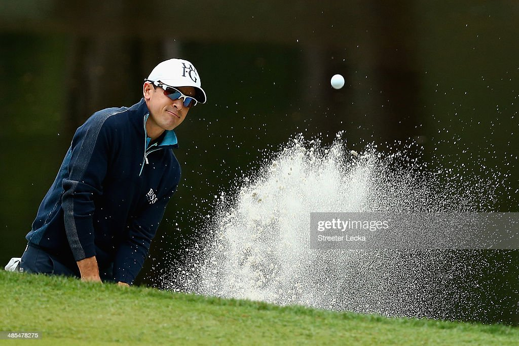 Scott Langley hits a shot out of the bunker on the 15th hole during the second round of the RBC Heritage at Harbour Town Golf Links on April 18 2014...