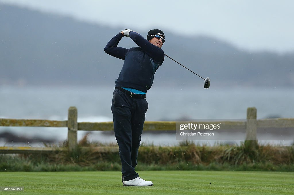 Scott Langley hits a tee shot during the second round of the ATT Pebble Beach National ProAm at the Pebble Beach Golf Links on February 7 2014 in...