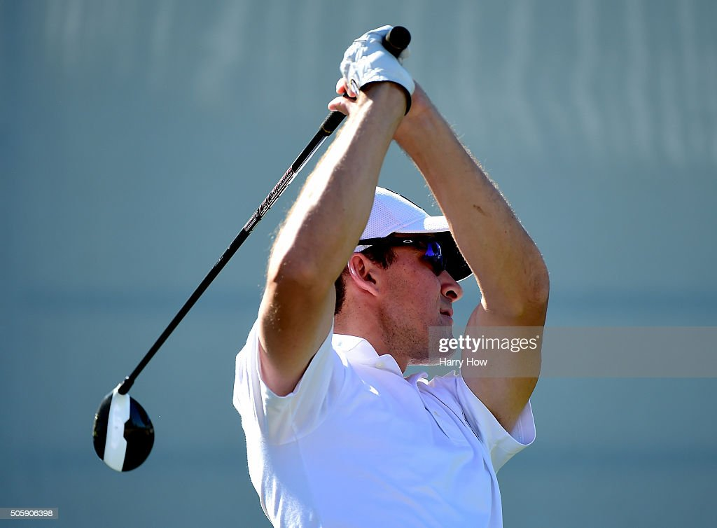Scott Langley hits a tee shot on the 10th during preview for the CarerrBuilder Challenge In Partnersihip With The Clinton Foundation at the TPC Stadium Course at PGA West on January 20, 2016 in La Quinta, California.