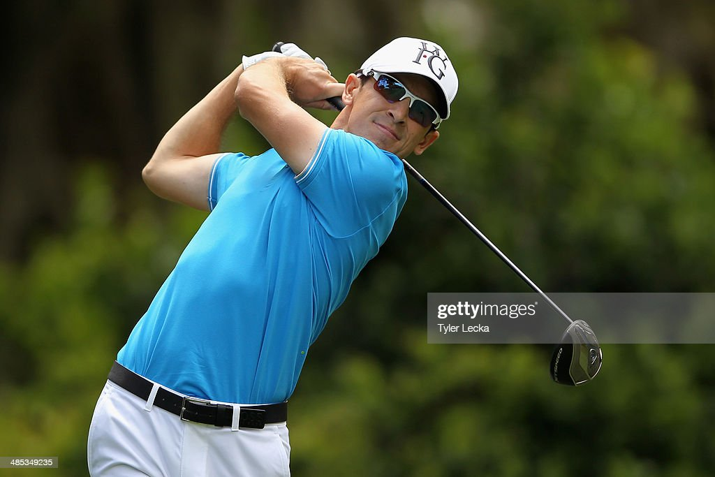 Scott Langley hits a tee shot on the 8th hole during the first round of the RBC Heritage at Harbour Town Golf Links on April 17 2014 in Hilton Head...