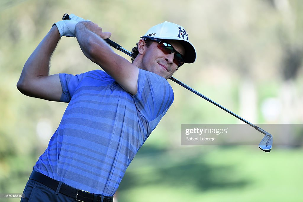 Scott Langley hits an approach shot on the ninth hole during round two of the Fryscom Open at Silverado Resort and Spa on October 10 2014 in Napa...