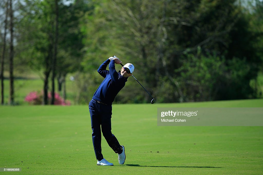 Scott Langley hits his second shot on the seventh hole during the final round of the Chitimacha Louisiana Open presented by NACHER held at Le...