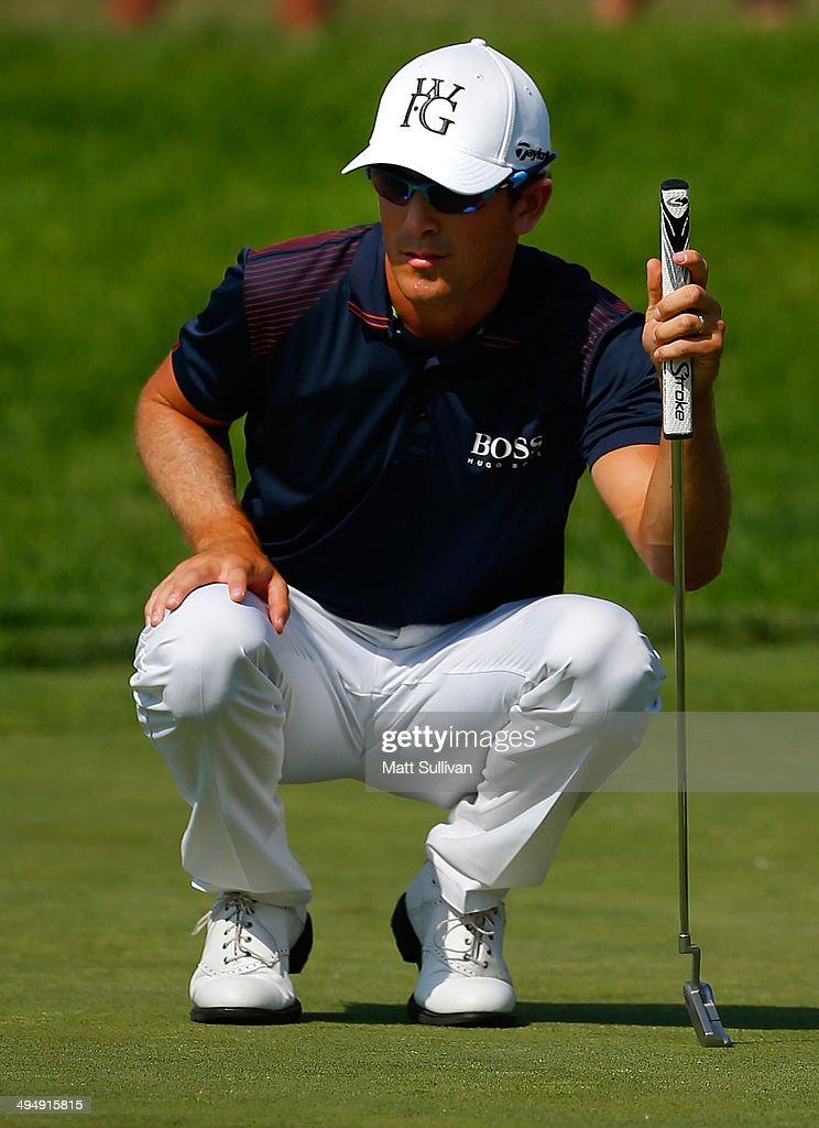 Scott Langley lines up a putt on the 18th hole during the third round of the Memorial Tournament presented by Nationwide Insurance at Muirfield...