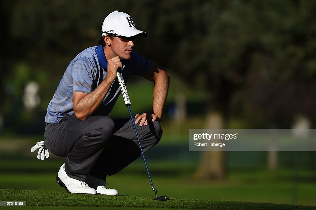 Scott Langley lines up his put on the ninth green during round two of the Fryscom Open at Silverado Resort and Spa on October 10 2014 in Napa...
