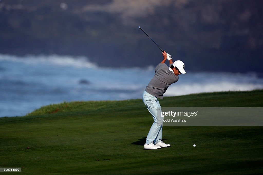 <a gi-track='captionPersonalityLinkClicked' href=/galleries/search?phrase=Scott+Langley&family=editorial&specificpeople=4459429 ng-click='$event.stopPropagation()'>Scott Langley</a> plays a shot from the fairway on the 10th hole during the second round of the AT&T Pebble Beach National Pro-Am at the Pebble Beach Golf Links on February 12, 2016 in Pebble Beach, California.