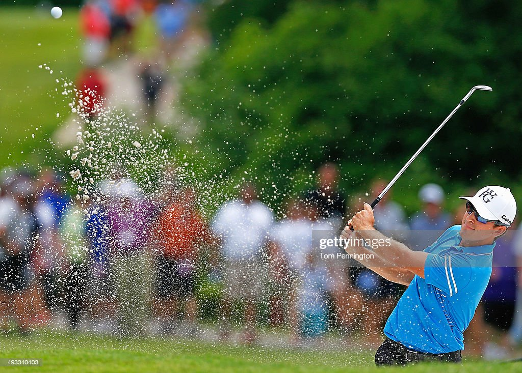 Scott Langley plays his shot out of the bunker on the 8th hole during Round Two of the Crowne Plaza Invitational at Colonial on May 23 2014 at...