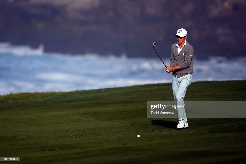<a gi-track='captionPersonalityLinkClicked' href=/galleries/search?phrase=Scott+Langley&family=editorial&specificpeople=4459429 ng-click='$event.stopPropagation()'>Scott Langley</a> prepares to play a shot from the fairway on the 10th hole during the second round of the AT&T Pebble Beach National Pro-Am at the Pebble Beach Golf Links on February 12, 2016 in Pebble Beach, California.