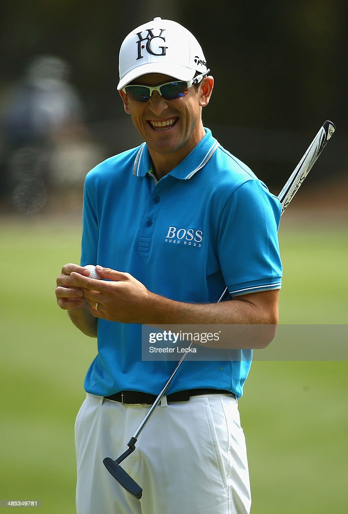 Scott Langley reacts on the 15th green during the first round of the RBC Heritage at Harbour Town Golf Links on April 17 2014 in Hilton Head Island...