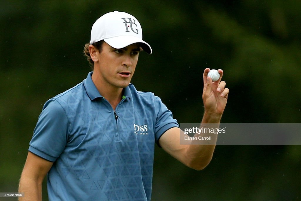 Scott Langley reacts to his birdie putt on the seventh hole during the second round of the Greenbrier Classic at the Old White TPC on July 3 2015 in...