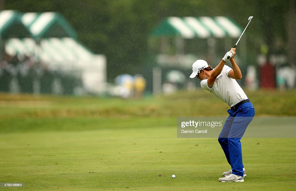 Scott Langley takes his second shot on the 17th during the first round of the Greenbrier Classic at the Old White TPC on July 2 2015 in White Sulphur...