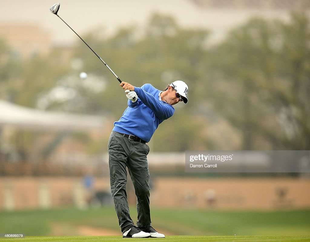 Scott Langley tees off for the third time on the 11th during Round One of the Valero Texas Open at the ATT Oaks Course on March 27 2014 in San...