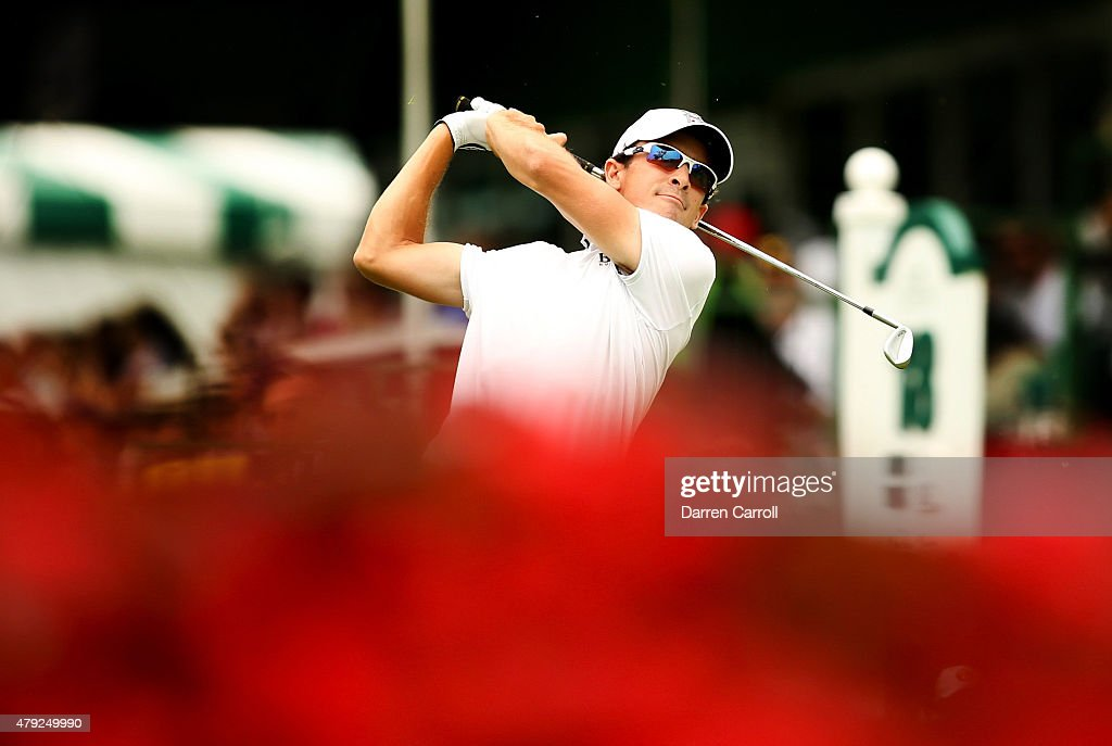 Scott Langley tees off on the 18th hole during the first round of the Greenbrier Classic at the Old White TPC on July 2 2015 in White Sulphur Springs...