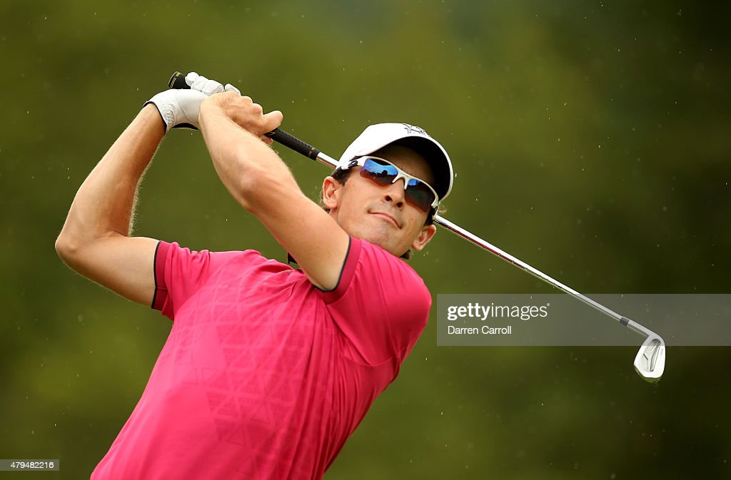 Scott Langley tees off on the third hole during the third round of the Greenbrier Classic at the Old White TPC on July 4 2015 in White Sulphur...