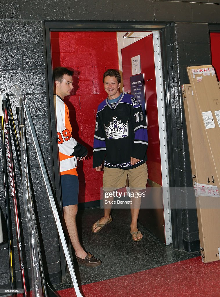 Scott Laughton of the Philadelphia Flyers and Tyler Toffoli of the Los Angeles Kings arrive for the media opportunity at the 2012 NHLPA rookie showcase at the MasterCard Centre on August 28, 2012 in Toronto, Canada.