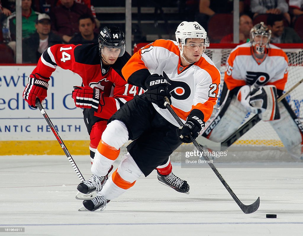 <a gi-track='captionPersonalityLinkClicked' href=/galleries/search?phrase=Scott+Laughton&family=editorial&specificpeople=8050728 ng-click='$event.stopPropagation()'>Scott Laughton</a> #21 of the Philadelphia Flyers skates against the New Jersey Devils at the Prudential Center on September 26, 2013 in Newark, New Jersey. The Devils defeated the Flyers 4-1.