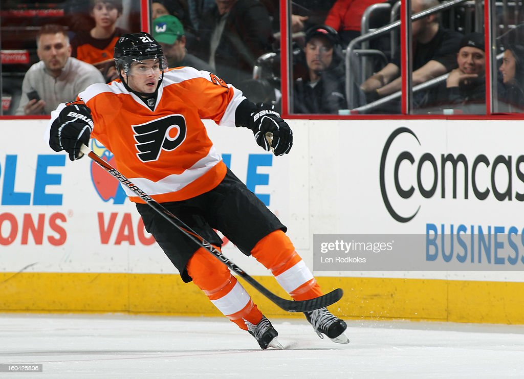 <a gi-track='captionPersonalityLinkClicked' href=/galleries/search?phrase=Scott+Laughton&family=editorial&specificpeople=8050728 ng-click='$event.stopPropagation()'>Scott Laughton</a> #21 of the Philadelphia Flyers skates against the New York Rangers on January 24, 2013 at the Wells Fargo Center in Philadelphia, Pennsylvania.