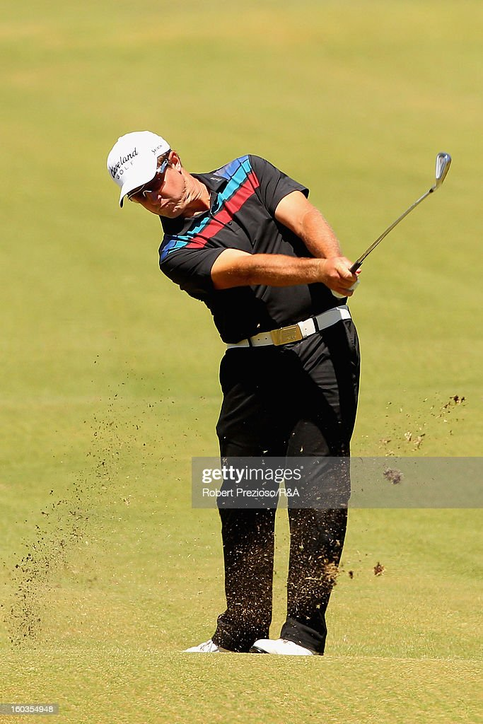 Scott Laycock of Australia plays a shot on the 17th hole during day two of the British Open International Final Qualifying Australasia at Kingston Heath Golf Club on January 30, 2013 in Melbourne, Australia.