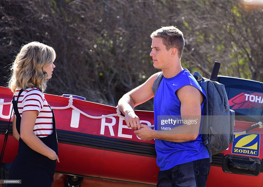 Scott Lee and Raechelle Banno filming Home and Away on May 30, 2016 in Sydney, Australia.