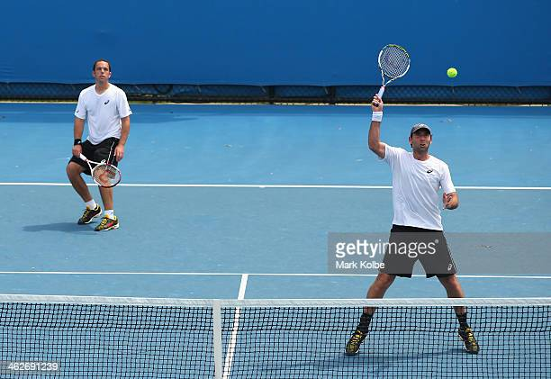 Scott Lipsky of the United States and Santiago Gonzalez of Mexico in action in their first round doubles match against Oliver Marach of Austria and...