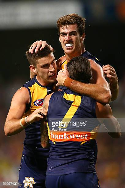 Scott Lycett of the Eagles celebrates a goal during the round three AFL match between the West Coast Eagles and the Fremantle Dockers at Domain...