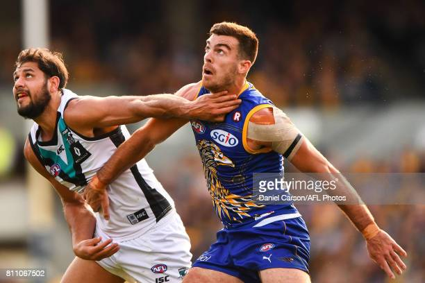 Scott Lycett of the Eagles contests a boundary throw in against Paddy Ryder of the Power during the 2017 AFL round 16 match between the West Coast...