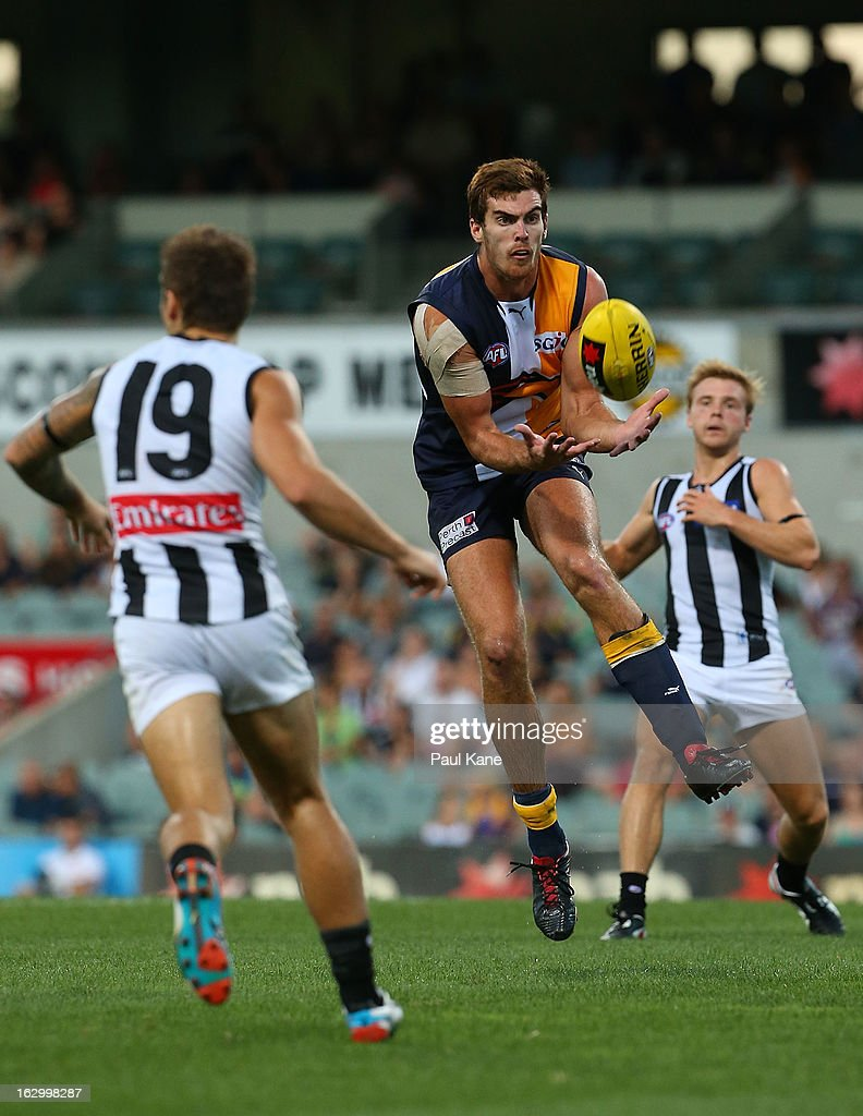Scott Lycett of the Eagles marks the ball during the round two AFL NAB Cup match between the West Coast Eagles and the Collingwood Magpies at Patersons Stadium on March 3, 2013 in Perth, Australia.