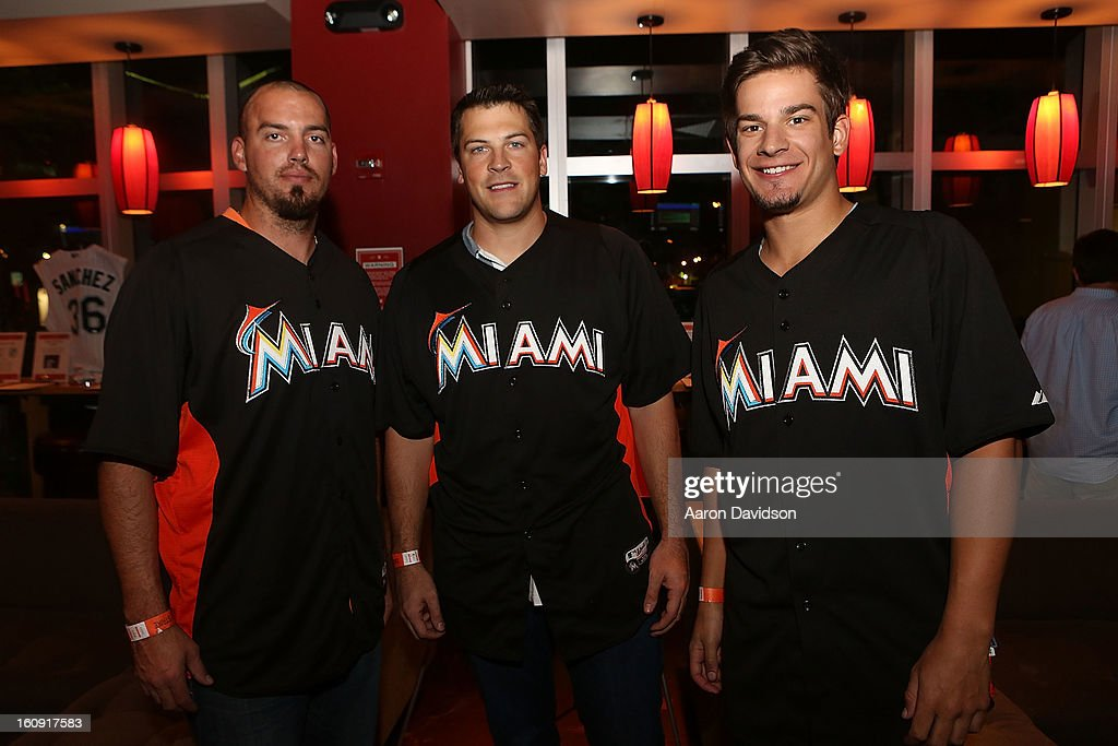 Scott Maine, Joe Mahoney, and Brad Hand attend The Miami Marlins Host 7th Annual BaseBowl at Lucky Strike Lanes on February 7, 2013 in Miami Beach, Florida.