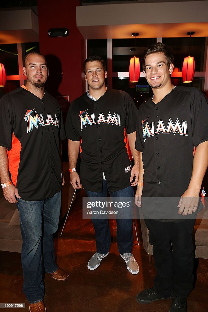 Scott Maine, Joe Mahoney, and <a gi-track='captionPersonalityLinkClicked' href=/galleries/search?phrase=Brad+Hand&family=editorial&specificpeople=7551554 ng-click='$event.stopPropagation()'>Brad Hand</a> attend The Miami Marlins Host 7th Annual BaseBowl at Lucky Strike Lanes on February 7, 2013 in Miami Beach, Florida.