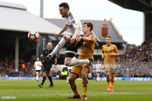 Scott Malone of Fulham beats Harry Winks of Tottenham Hotspur to the ball during The Emirates FA Cup Fifth Round match between Fulham and Tottenham...