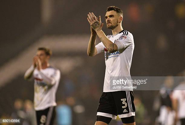 Scott Malone of Fulham claps the home support after the Sky Bet Championship match between Fulham and Derby County at Craven Cottage on December 17...