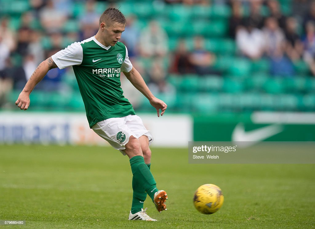 Scott Martin in action for Hibernian during the Pre-Season Friendly between Hibernian and Birmingham City at Easter Road on July 24, 2016 in Edinburgh, Scotland.