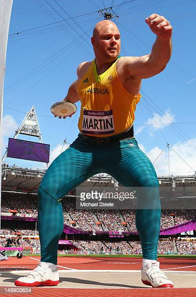 Scott Martin of Australia competes in the Men's Discus Throw qualification on Day 10 of the London 2012 Olympic Games at the Olympic Stadium on...